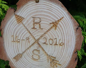 Personalised Engraved Wooden Log Slice Initials & Date -Wedding Gift - Any Name
