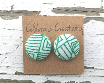 Fabric Button Post Earrings - Green and White Abstract - 5/8""