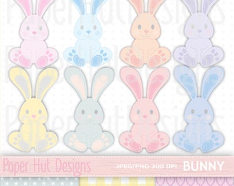 Bunny Rabbit Clipart- Baby Shower Bunny Clip Art-Digital Heart, Star Check Papers-Commercial Use-Baby Shower and Invitations
