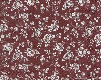 Little Roses Marsala 4 Decoupage Napkins. Set of 4 napkins. Paper Napkin for Decoupage, Craft Napkin, Flower Napkin, Decoupage Paper