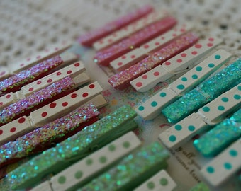 6 YOU CHOOSE COLOR Clothespins with PolkaDots and Glitter Polka Dots Paperclips Wedding Birthday Bridal Shower Party Favors Gift Bag Clips