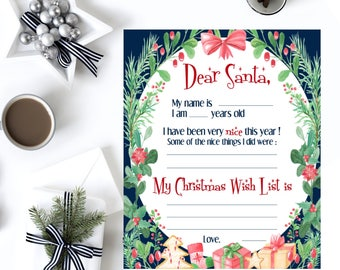 Letter to Santa, Wish list printable, Wish list Christmas, Kids letter to Santa, Christmas list, Christmas activity, Christmas printable