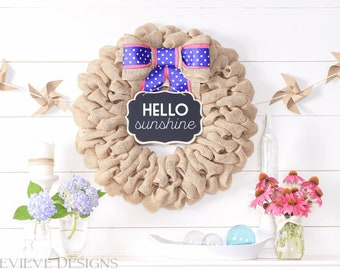 Summer Wreath for Double Doors, Baby Gift Summer Gift for Daughter, Summer Party Decorations