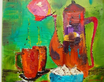 Coffee break. Original oil painting on canvas ready to hang