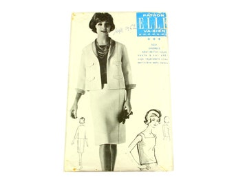 Vintage skirt,  shaw collar jacket and sleeveless smock pattern, French 1960s ELLE EU size 40-44-48 pattern