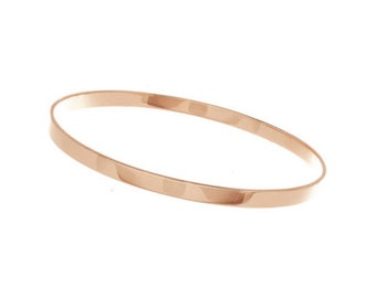 14K Solid Gold Bangle Bracelet - White Gold - Rose Gold - Yellow Gold - Slip on Bangle Bracelet - Medium 14K Solid Gold Bangle Bracelet