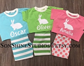 2018 Easter/Spring Pajamas Children, New Spring Colors Polka Dots and Stripes, Lime, Aqua, Pink, Lavender/More Sizes