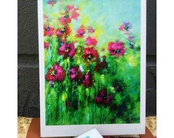 Greeting card, art card, flower card, thank you card, card for her, note card, card with envelope, abstract flower card