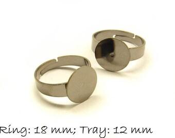 Ring blank, adjustable, black gunmetal, 18 mm, surface 12 mm