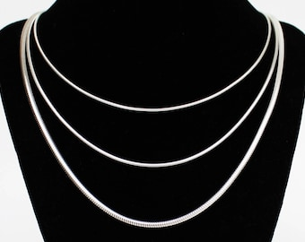 Silver Snake Chain Solid Sterling Silver 16 18 20 22 24 inch 1.5MM 2MM 3MM Solid Sterling Silver Womens Chain Mens Chain Necklace 925