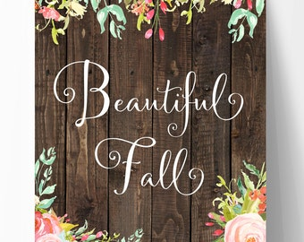 """Fall Printable, 8""""x10"""" Fall Print, Faux Wood with Watercolor, Fall Decor, Halloween Art, Thanksgiving Print, Downloadable Art, Autumn Wall"""