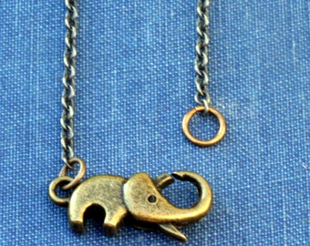 Antique Bronze Elephant Necklace Layering Necklace Elephant Necklace Good Luck Necklace Steampunk Elephant