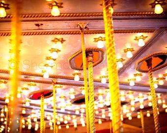 Carousel Photography - Carnival Print - Carousel Photo - Lights Black and White - 8x10 8x8 10x10 11x14 12x12 20x20 16x20 - Photography