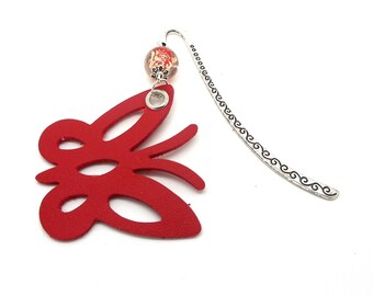 Red Pearl Butterfly bookmark Red