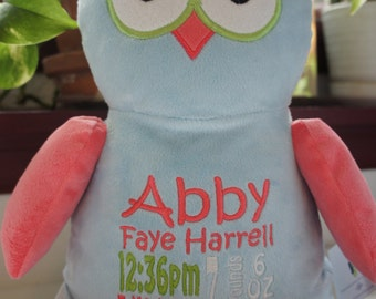 "Personalized Baby Gift, ""Baby Cubbies"" Hooty Lou the Owl, Birth announcement stuffed animal keepsake with machine embroidery"