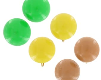 Plastic Green Yellow Tan Big Button Clip Earrings Vintage 1960s