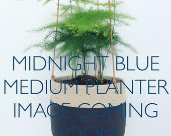 PRE-ORDER FOR 11th May shipping. Midnight blue handmade ceramic hanging planter (medium)