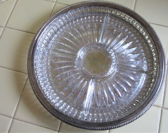 """Vintage Pressed Glass Hors d'oeuvre Dish on Silver Tray, 13"""" Diameter"""