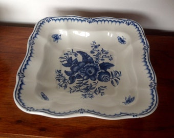 Booths Silicone China. Blue & White, Peony Serving Dish.