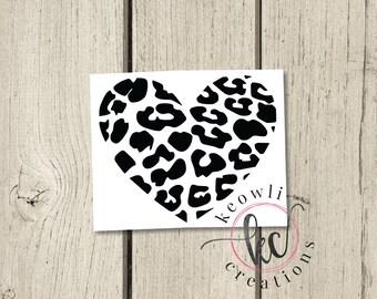 Leopard Heart Vinyl Decal