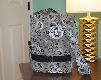"""Silver and black quilted """"Ragamuffin"""" crossbody purse for iPad"""