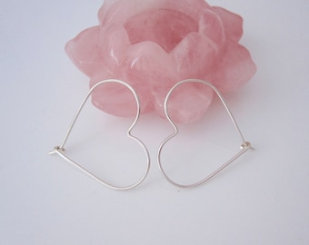 Sterling silver or yellow or rose gold filled wire HEART hoop earrings, love earrings