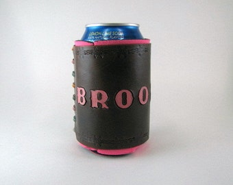 Leather Can Holder Ready to Ship Brooklyn Barbed Wire Leather Can Cooler Hand Tooled Leather Can Chiller Leather Can Holder Beer Holder