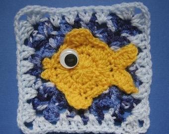 Barramundi Fish Square rugalugs crochet pattern.
