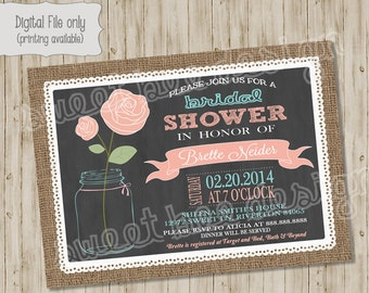 Bridal Shower Invitation, Pink, Coral, Blue, Chalkboard Floral Mason Jar Printable Shower Invite
