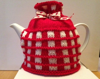 Hand Knitted Bespoke Red and White Checked Tea Cosy