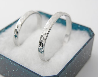 Silver wedding bands set-Sterling silver 925-2 mm -Hammered shinny finish.Price is for 2 rings.