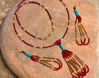 Red Seed Bead Necklace & Earring Set
