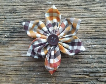 Plaid dog flower, flower, dog collar flower, small