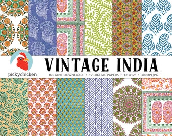 Indian Digital Paper - vintage botanical patterns, paisley, ethnic, mandala, leaf, vines, woodblock print photography backdrop 8102