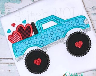 Monster Truck hearts Applique, Hearts in Monster Truck Applique, Boy Valentine's Shirt, Boy Valentine's Applique, Valentine's Day Applique