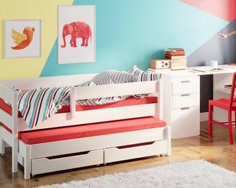 Children's bed Natasha incl. 2 mattresses, 2 drawers 160 x 80 cm 180 x 80 cm 180X90XM 200 x 90 cm