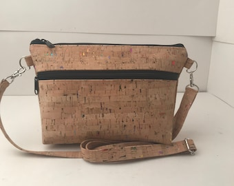 Cork Bag/Crossbody Bag/Cellphone Bag/Purse/ 2.0 Adjustable Strap -  Natural w/Rainbow Metallic