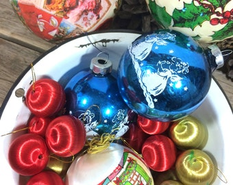 mix lot vintage Christmas Ornaments Mercury Glass, string balls and resin covered balls