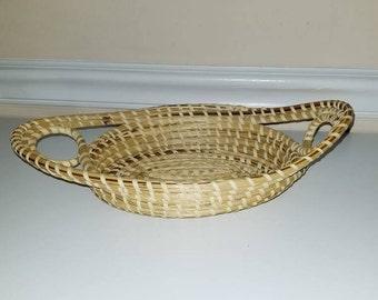 Vintage BOHO Hand Woven Coil Bowl, Boho Wall Basket, Woven Basket, Bohemian, Wall Basket, Rustic, Storage, Rustic Home