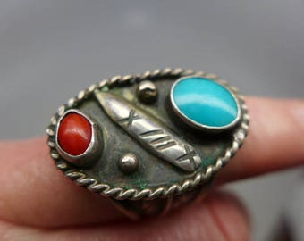 Vintage Navajo Turquoise  Coral and Sterling Ring - Size 9 - Man's Size Ring