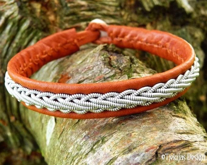 THOR Viking Bracelet Cuff Handmade Unisex Swedish Lapland Sami Bracelet in Bark Brown Reindeer Leather with Pewter Braid and Antler Closure