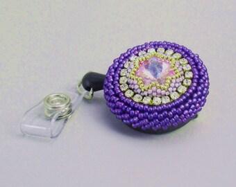 Dressy Beaded Work Badge Reel Lanyard with Crystals