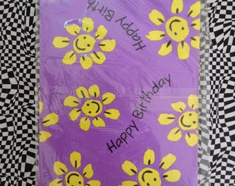 You Make Me Smile~Happy Birthday~Vintage~Gift Wrap~Wrapping Paper~Yellow Flowers~Smilie Faces
