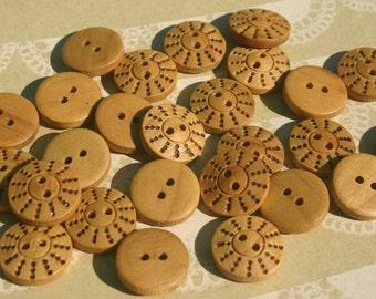 """Wood Buttons - Wooden Pinwheel Dots Button - 11/16"""" Wide - 24 Buttons"""