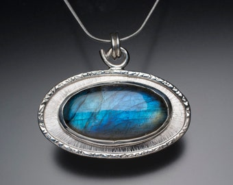 Sterling Silver and Blue Labradorite Frame Necklace