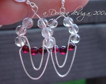 ENDLESS LOVE - Tear Drop Swinging Chandelier Earrings - Crystal Quartz, Garnet and Sterling Silver - Handmade by Dorana