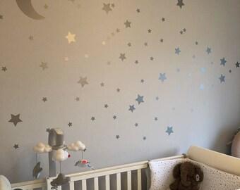 Silver Stars & Moon Nursery Wall Stickers