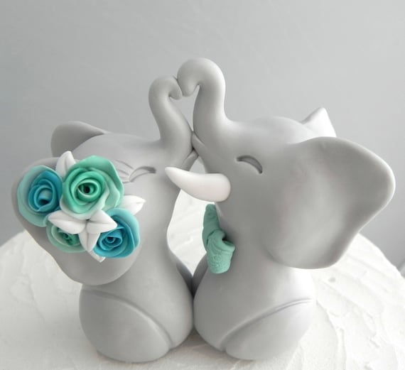 Wedding Cake Topper, Elephants in Love, Gray, Aqua and Mint, Bride and Groom Keepsake