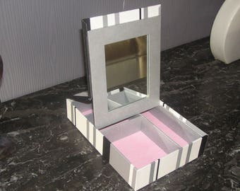 Make up box with mirror, pink and gray