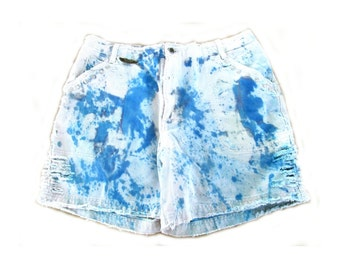 high waist shorts - galaxy shorts, tie dyed shorts, jean shorts,  frayed shorts-  size 16,  # 14